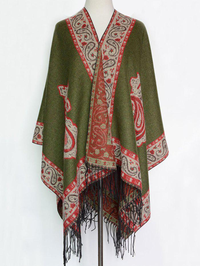 Ethnic Floral Design Tassel Shawl Scarf - ARMY GREEN