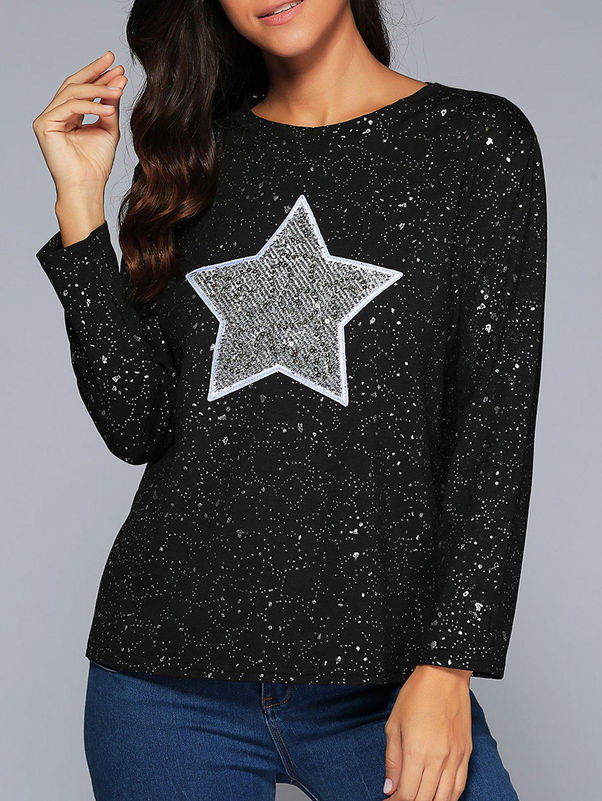 Star Sequins Long Sleeve Sparkly T-Shirt - BLACK 4XL