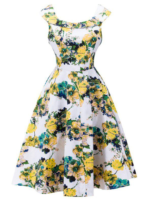 Blossom Print Sleeveless Swing Vintage Tea Dress - WHITE M