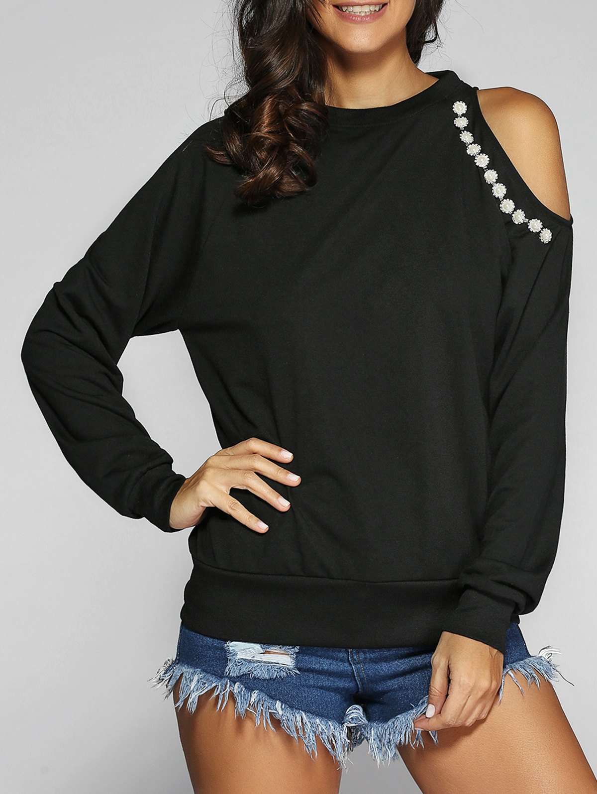 Beading Cut Out Long Sleeve SweatshirtWomen<br><br><br>Size: XL<br>Color: BLACK