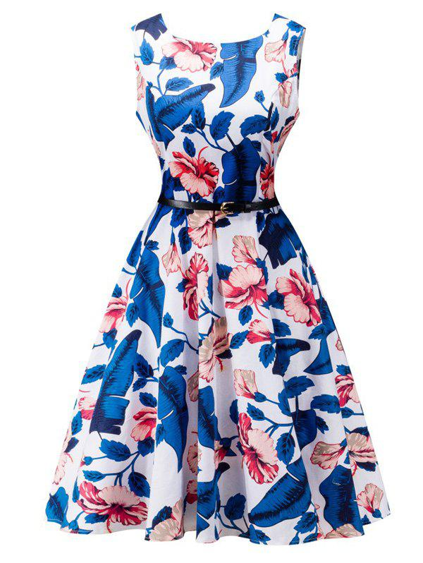 Belted Floral Print High Waist Swing Dress - WHITE L