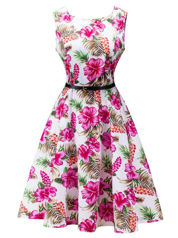 Sleeveless Belted Flower Print Flare Dress - WHITE S