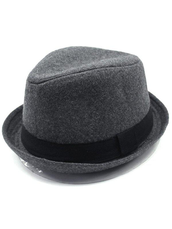 Vintage Wool Embellished Flanging Fedora HatAccessories<br><br><br>Color: DEEP GRAY