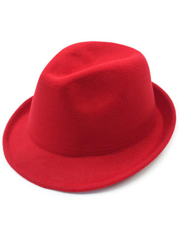 Pure Color Wool Embellished Flanging Fedora Hat - RED