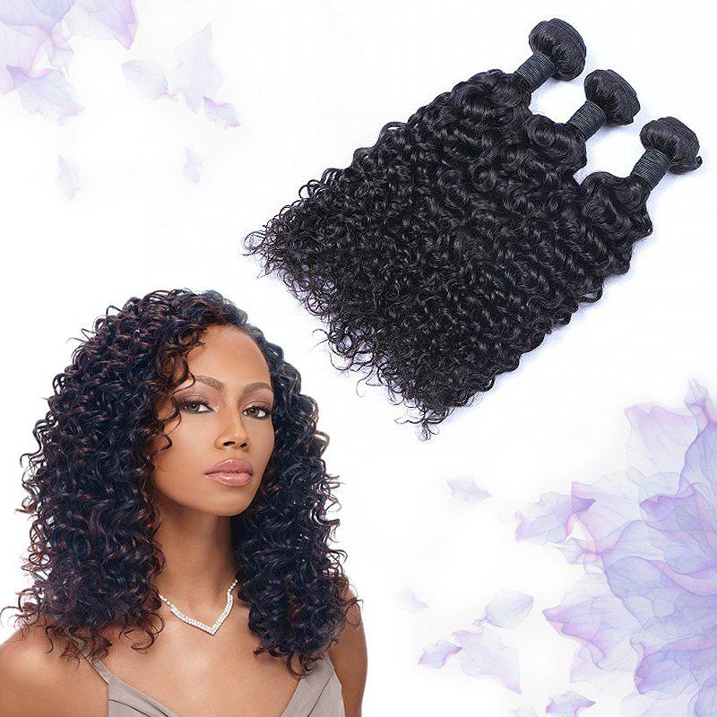 3 Pcs Jerry Curly 7A Virgin Indian Hair Weaves - BLACK 14INCH*14INCH*14INCH