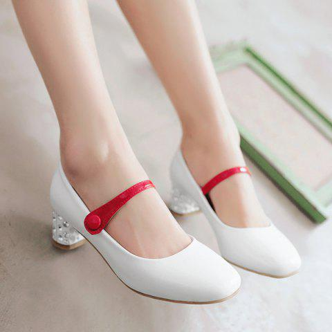 43379731794c 17% OFF  2019 Buckle Low Heel Square Toe Color Block Pumps In WHITE ...
