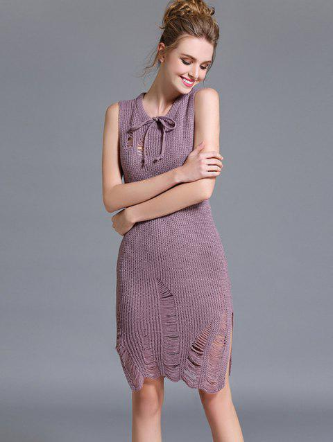 Sans manches Ripped Slit Sweater Dress - Pale Rose Gris ONE SIZE