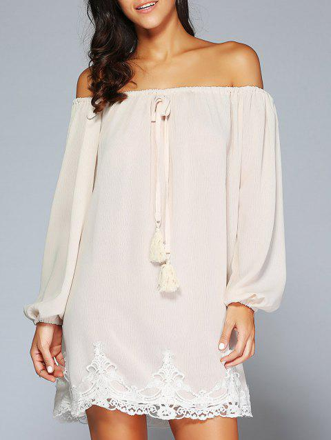 Off The Shoulder Patched Long Sleeve Cream Casual Dress - APRICOT M