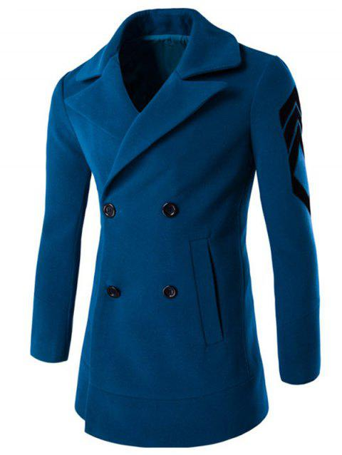 Turn-Down Collar Double-Breasted Embroidery Woolen Coat - LAKE BLUE XL
