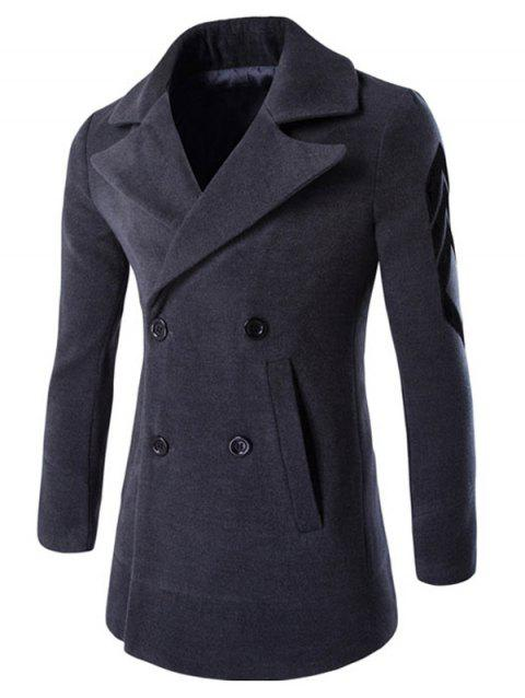 Turn-Down Collar Double-Breasted Embroidery Woolen Coat - DEEP GRAY M