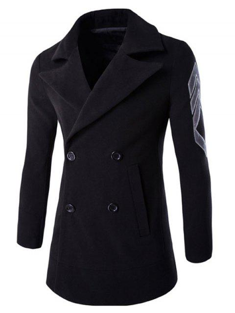 Turn-Down Collar Double-Breasted Embroidery Woolen Coat - BLACK M