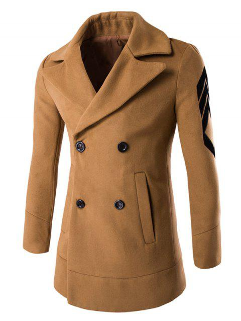 Turn-Down Collar Double-Breasted Embroidery Woolen Coat - CAMEL 2XL