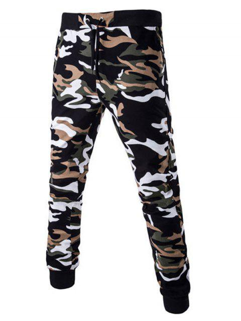 Drawstring Beam Feet Camoflage Pattern Jogger Pants - EARTHY L