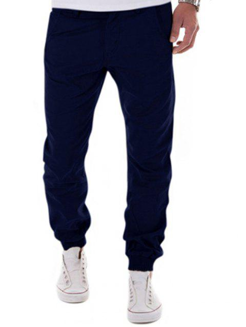 Zipper Fly Beam Feet Low-Slung Crotch Design Jogger Pants - CADETBLUE M
