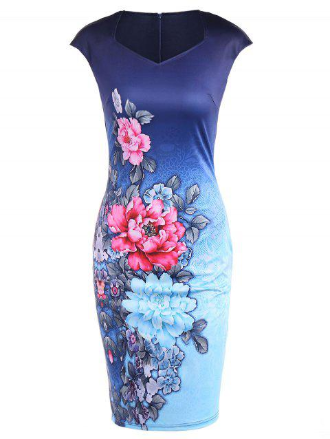 Cape Sleeve Tie Dye Floral Print Fitted Dress - DEEP BLUE M