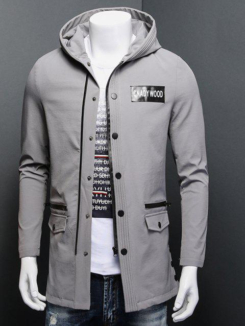 Snap Button Patch Design Zippered Hooded Coat - GRAY 3XL