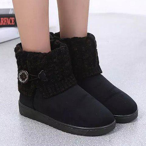 Button Cable Knitted Suede Snow Boots - BLACK 37