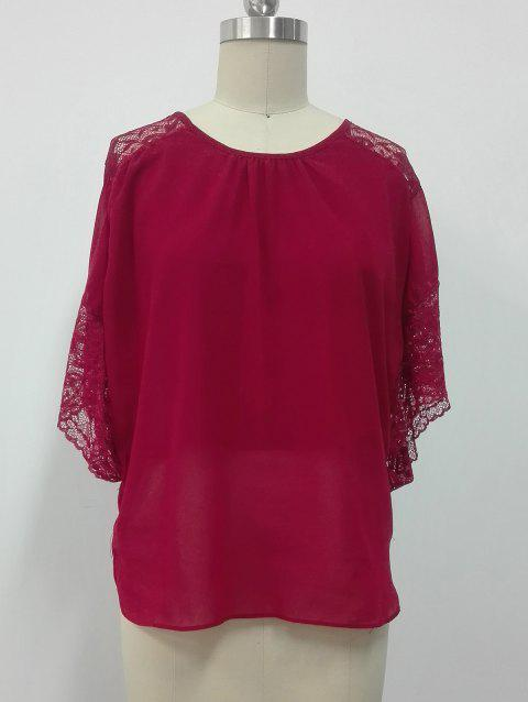 Lace Spliced Butterfly Sleeves Blouse - RED M