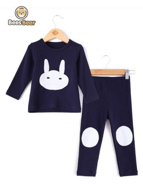 Cartoon Lapin Homewear Pyjamas Pyjamas Pyjamas Ensembles - Bleu Violet CHILD-5