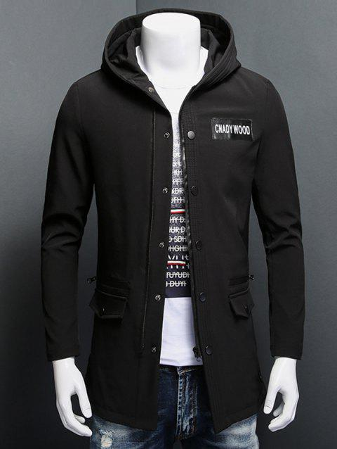 Snap Button Patch Design Zippered Hooded Coat - BLACK 3XL