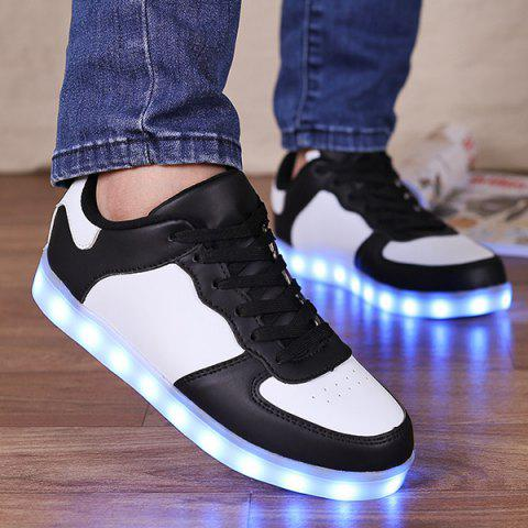 Lights Up Led Luminous  Colour Splicing Casual Shoes - WHITE/BLACK 42