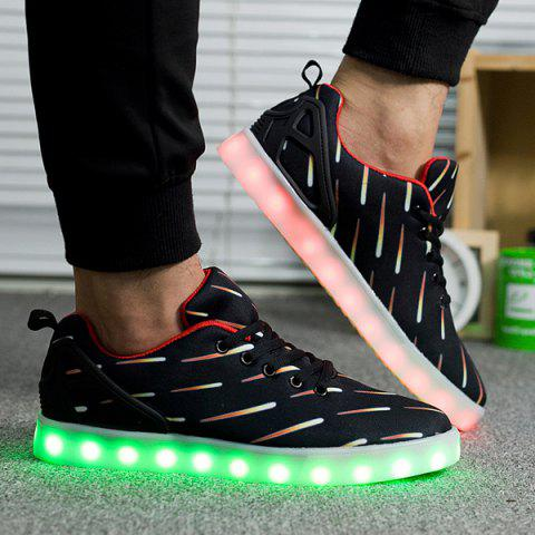 Lights Up Led Luminous Meteor Pattern Casual Shoes - Noir 42