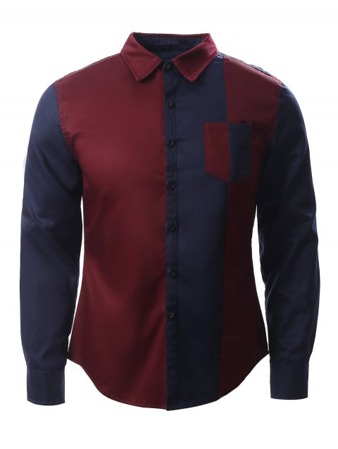 Turn-Down Collar Long Sleeve Color Block Splicing Design Shirt - BLUE/RED S