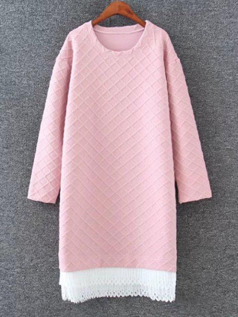 Drop Shoulder Shift Sweatshirt Dress - PINK 4XL