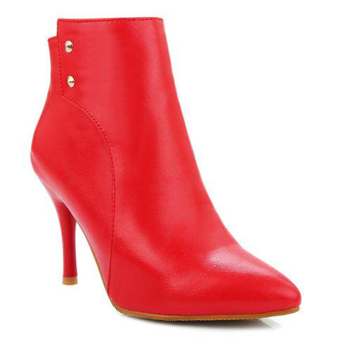 Stiletto Heel Point Toe Rivet Ankle Boots - RED 41