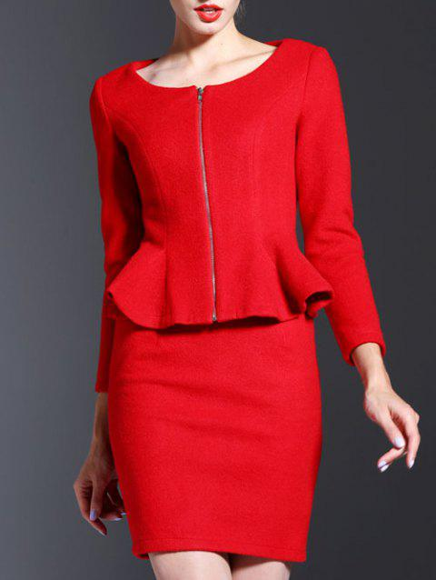 Casual Long Sleeve Sheath Two Piece Dress - RED L
