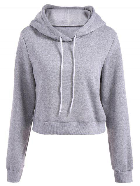 Long Sleeve Drawstring Épaissir Hoodie - Gris Clair 2XL