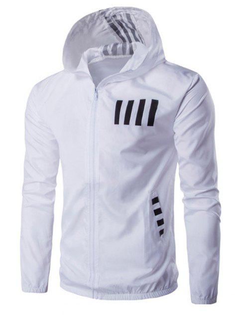 Hooded Zip-Up Number and Stripe Print Polyester Jacket - WHITE M