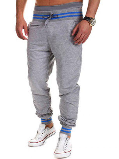 Pieds à lacets Poutre Color Block Pants Stripe Spliced ​​Jogger - Gris Clair M