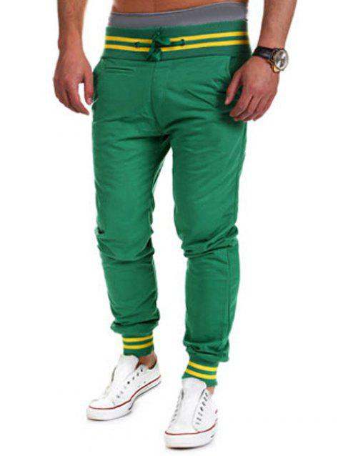 Pieds à lacets Poutre Color Block Pants Stripe Spliced ​​Jogger - Vert L