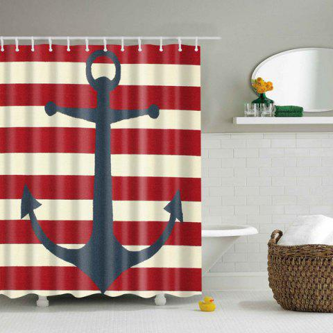 Anchor Stripe Bathroom Waterproof Shower Curtain