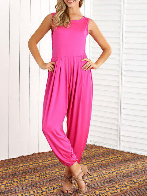 Sleeveless Loose High-Waisted Jumpsuit - ROSE RED M