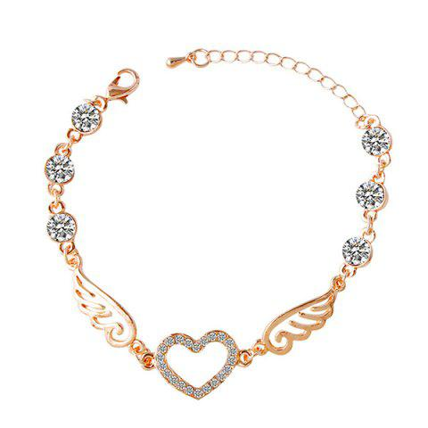 Rhinestone Angel Wings Heart Bracelet - GOLDEN