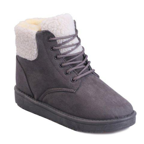 Bottines à lacets Faux Shearling - Gris 40