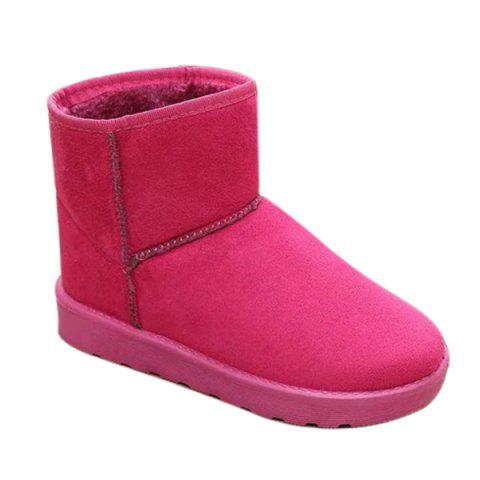 Suede Slip-On Flat Heel Snow Boots - ROSE RED 38