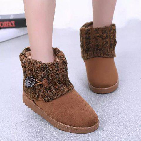 Button Cable Knitted Suede Snow Boots - BROWN 37