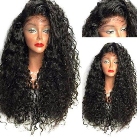 Long Curly Side Parting High Temperature Fiber Lace Front Wig - BLACK