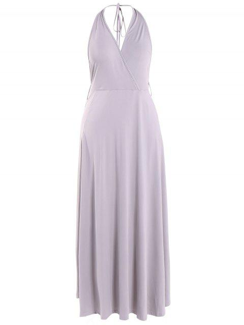 Backless haute Slit Halter Maxi Dress - Gris XL