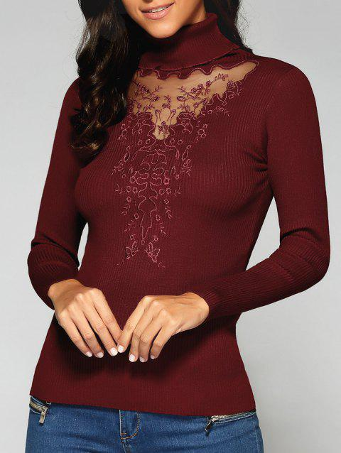 Turtleneck See Through Sweater - Rouge vineux ONE SIZE