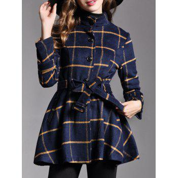 Button Down Belted Plaid Coat