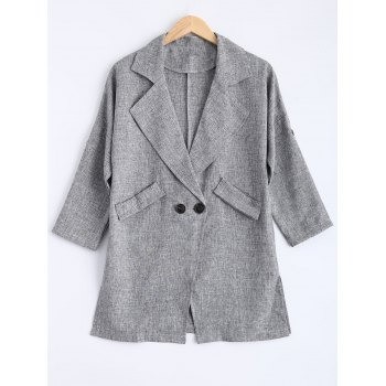 Buttons Pocket Flax Lapel Trench Coat
