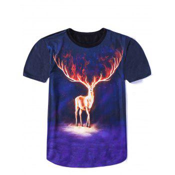 Vogue Round Neck 3D Cool Elk Print Fitted Short Sleeves Men's Ombre T-Shirt