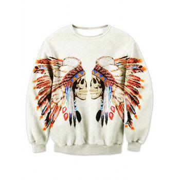 Tribal Skull Print Crew Neck Sweatshirt