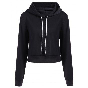 Long Sleeve Drawstring Thicken Hoodie - BLACK M