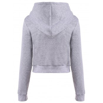 Long Sleeve Drawstring Thicken Hoodie - LIGHT GRAY LIGHT GRAY