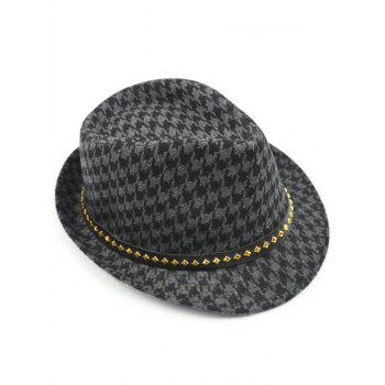 Keep Warm Wool Houndstooth Belt Buckle Rivets Jazz Hat - GRAY